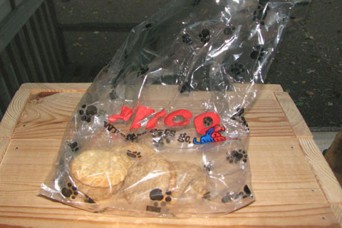 dog cookie treats in a bag