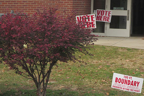 Vote signs at a poll