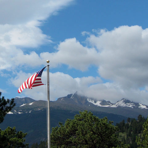 Flag at Beaver Meadow's Visitor's Center, Rocky Mountain National Park