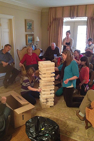 Giant Jenga game in progress
