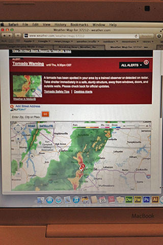 weather channel warnings on the laptop