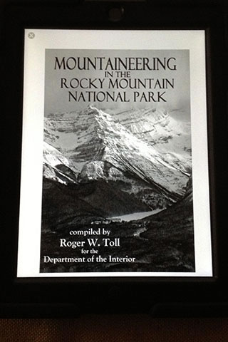 Mountaineering in the Rocky Mountain National Park viewed on an iPad with the Kindle edition