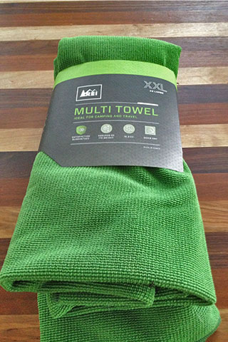 Multi Towel in REI packaging.