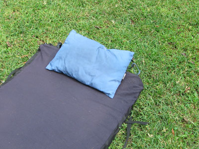 REI blue camping pillow