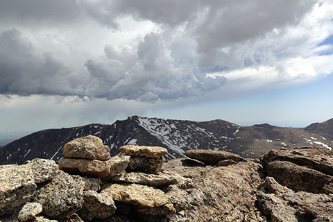 View of a storm from the summit of Fairchild Mountain