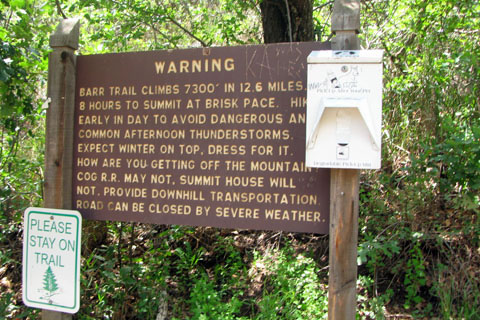 Sign at Barr Trailhead