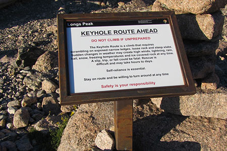 "Safety Sign for the Keyhole Route. ""Safety is your responsibility."""