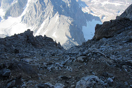Looking down the Couloir at the Lower Saddle