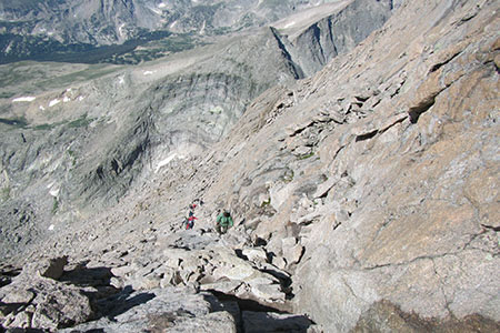Longs Peaks Homestretch with a handful of climbers making their way up the rocks.