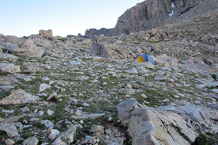 a tent on the Lower Saddle