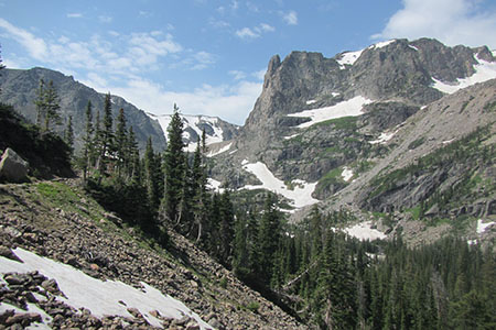 View of Notchtop Mountain from the Fern Lake Trail