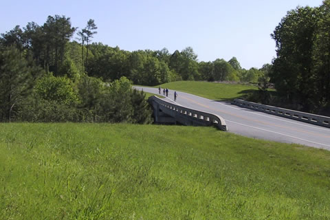 bicyclist on the Natchez Trace