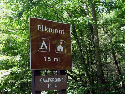 Elkmont Campground Sign