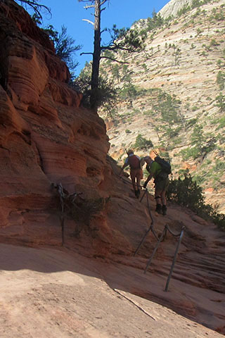 HIkers leaving Scouts Lookout without their poles