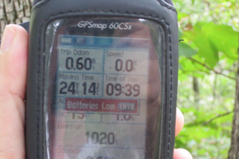 low battery warning sign on the gps