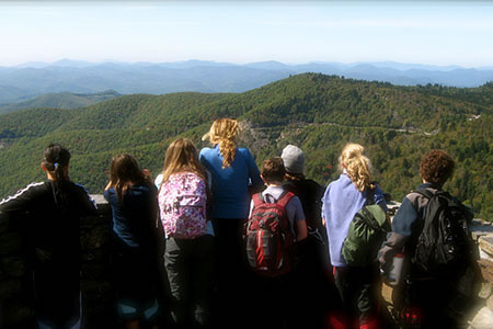 Students at an overlook