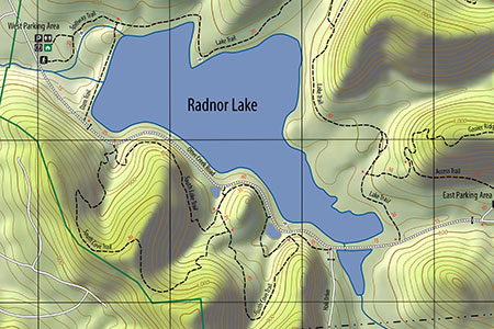 cropped section of Radnor Lake map