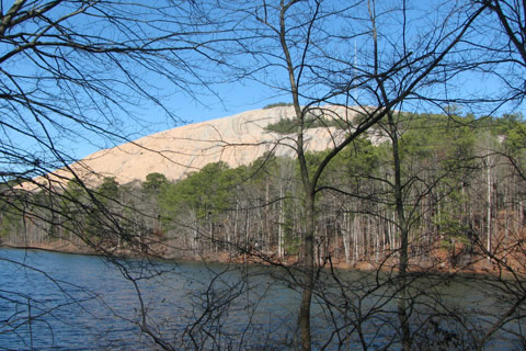 Stone Mountain from the shores of Venable Lake.